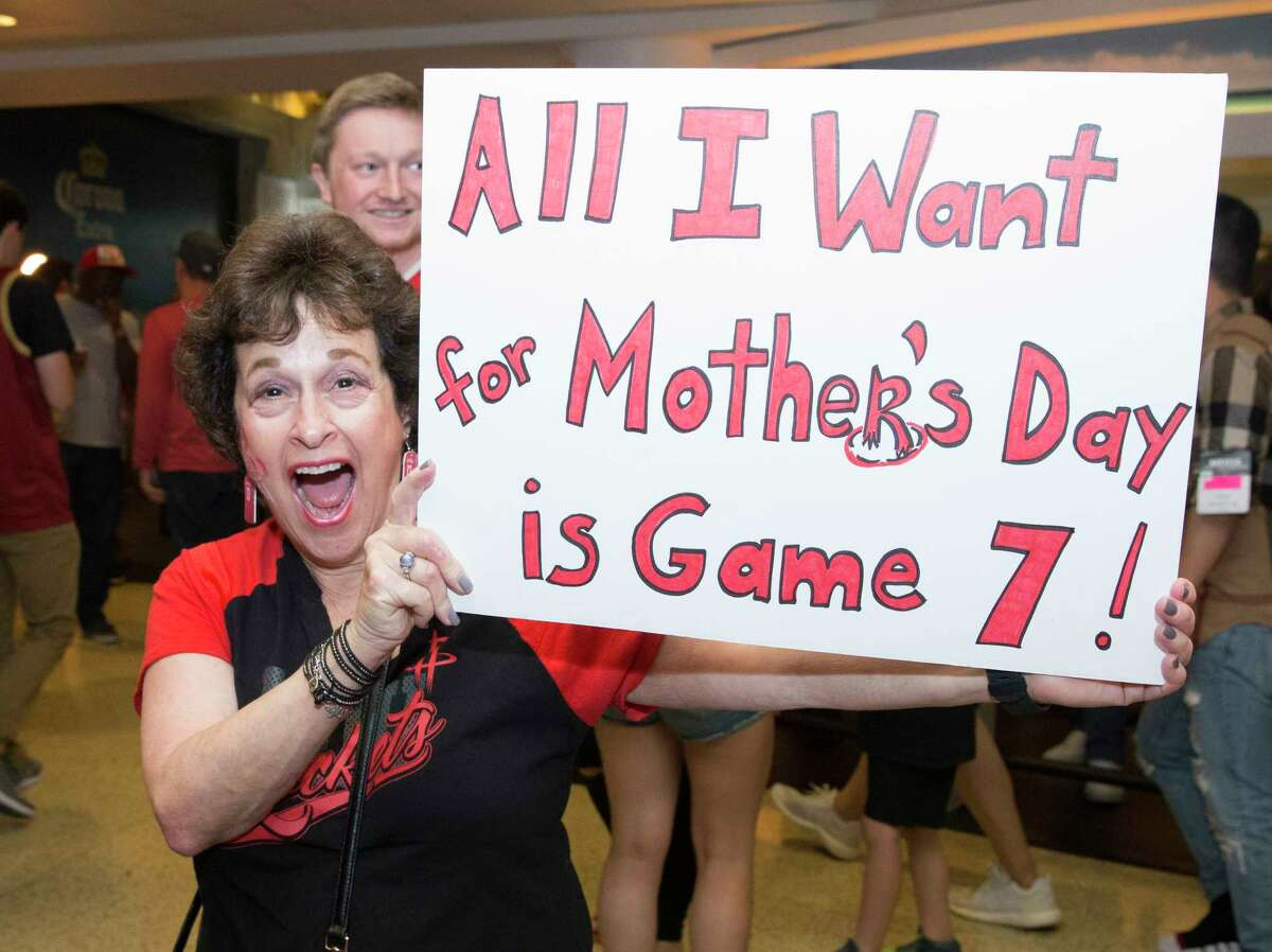 A Houston Rockets fan brings her sign to Game 6 of the NBA Western Conference semifinals against the Golden State Warriors on Friday, May 10, 2019, in Houston .
