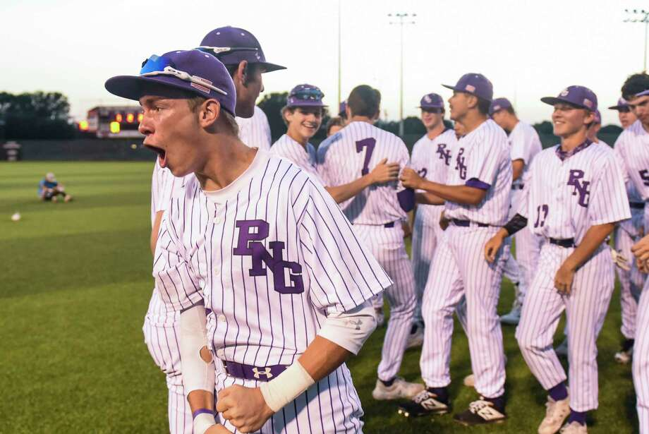 Port Neches-Groves' Cade Billeaud reacts after PN-G beat Shadow Creek 3-2 in the second game of a doubleheader at PN-G Friday evening. Photo taken on Friday, 05/10/19. Ryan Welch/The Enterprise Photo: Ryan Welch, The Enterprise / © 2019 Beaumont Enterprise