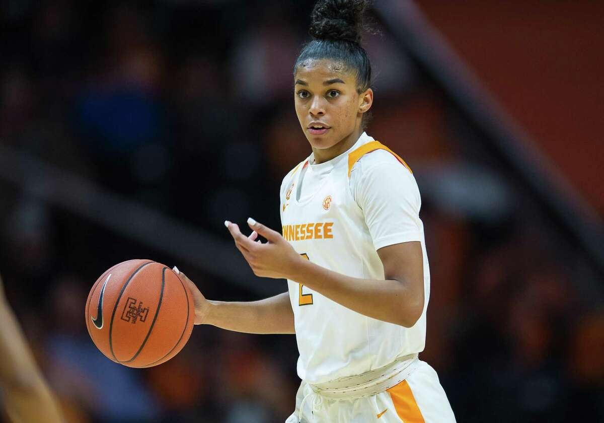 KNOXVILLE, TN - NOVEMBER 14: Tennessee Lady Volunteers guard Evina Westbrook (2) moves the ball during a college basketball game between the Tennessee Lady Volunteers and North Carolina Asheville Bulldogs on November 14, 2018, at Thompson-Boling Arena in Knoxville, TN. (Photo by Bryan Lynn/Icon Sportswire via Getty Images)