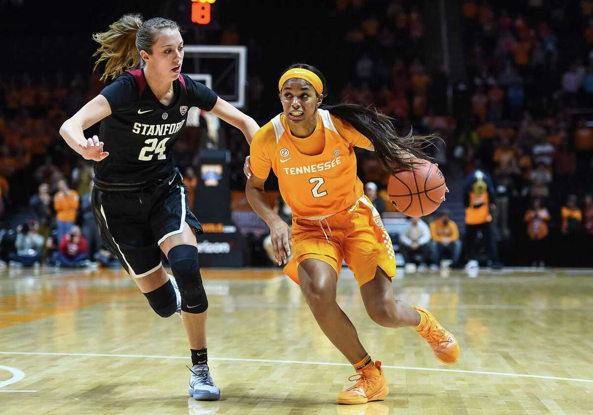 Tennessee Lady Volunteers guard Evina Westbrook (2) drives around Stanford Cardinal forward Lacie Hull (24) on December 18, 2018, at Thompson-Boling Arena in Knoxville, Tenn.
