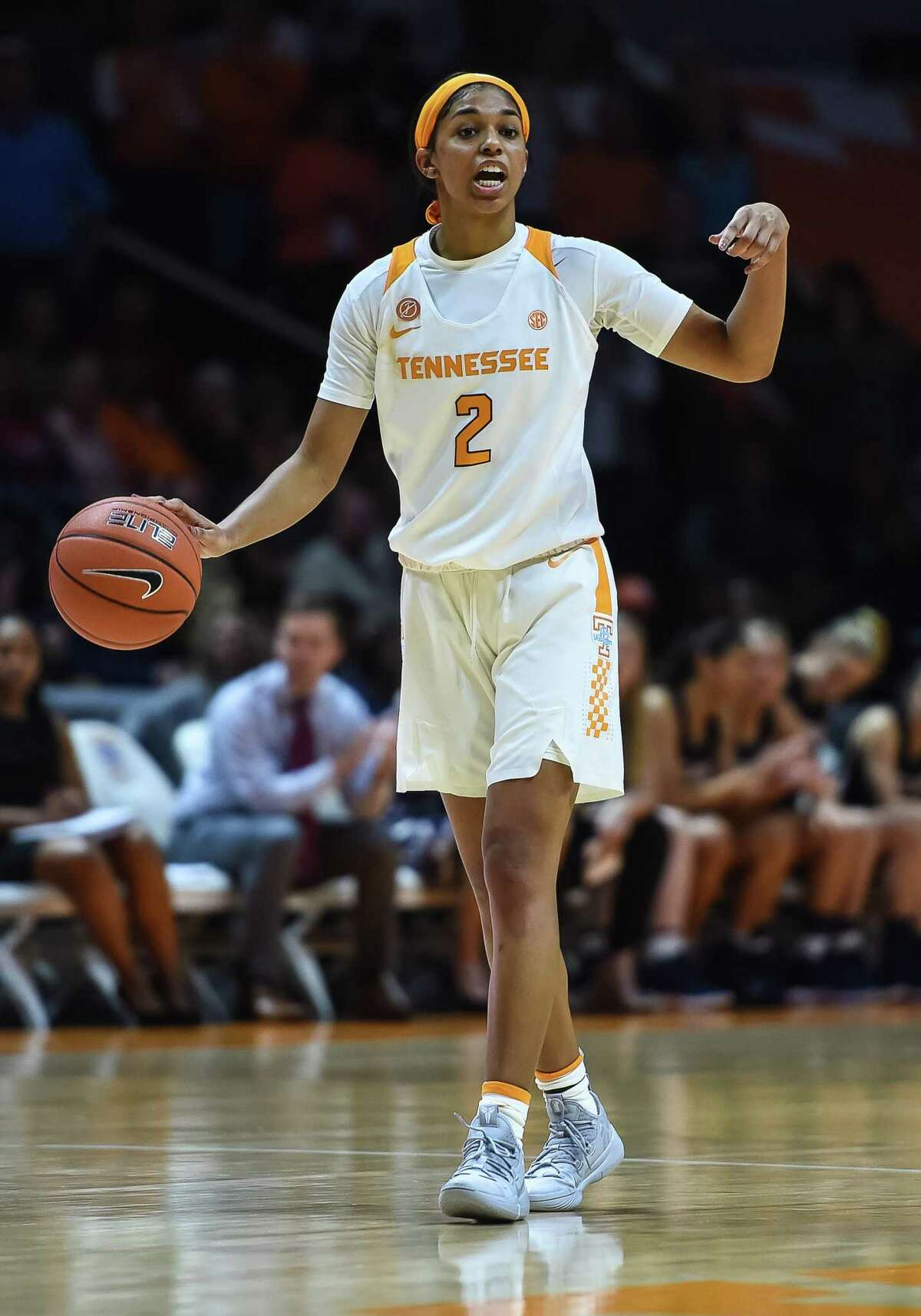 KNOXVILLE, TN - DECEMBER 30: Tennessee Lady Volunteers guard Evina Westbrook (2) brings the ball up court during a college basketball game between the Tennessee Lady Volunteers and Belmont Bruins on December 30, 2018, at Thompson-Boling Arena in Knoxville, TN. (Photo by Bryan Lynn/Icon Sportswire via Getty Images)
