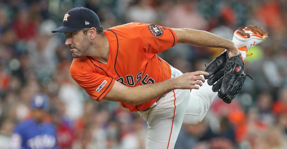 Houston Astros starting pitcher Justin Verlander (35) pitches during the first inning of an MLB baseball game at Minute Maid Park Friday, May 10, 2019, in Houston.