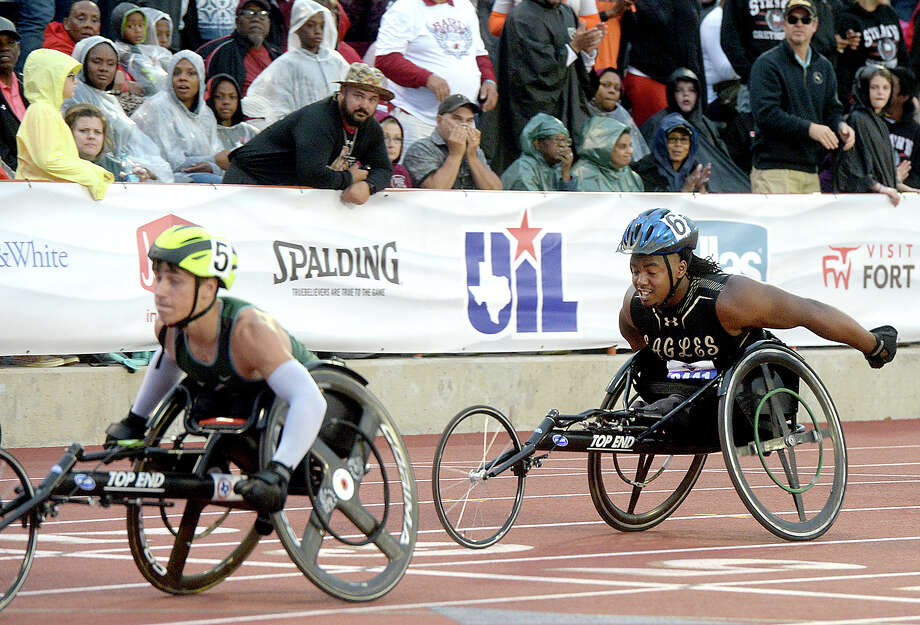 Woodville's Carrington Marendes comes in second in the 100 meter dash wheelchair event during the UIL Track and Field State Championships Friday in Austin. Photo taken Friday, May 10, 2019 Kim Brent/The Enterprise Photo: Kim Brent, The Enterprise / BEN