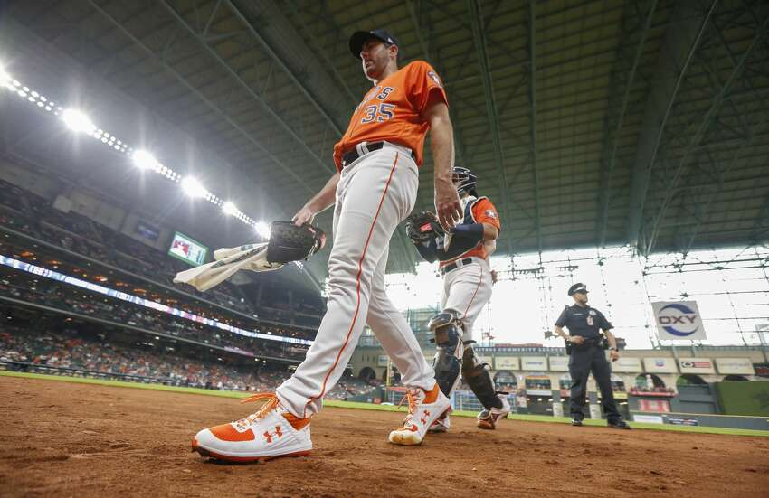 Houston Astros starting pitcher Justin Verlander (35) finishes warming up before an MLB baseball game at Minute Maid Park Friday, May 10, 2019, in Houston.