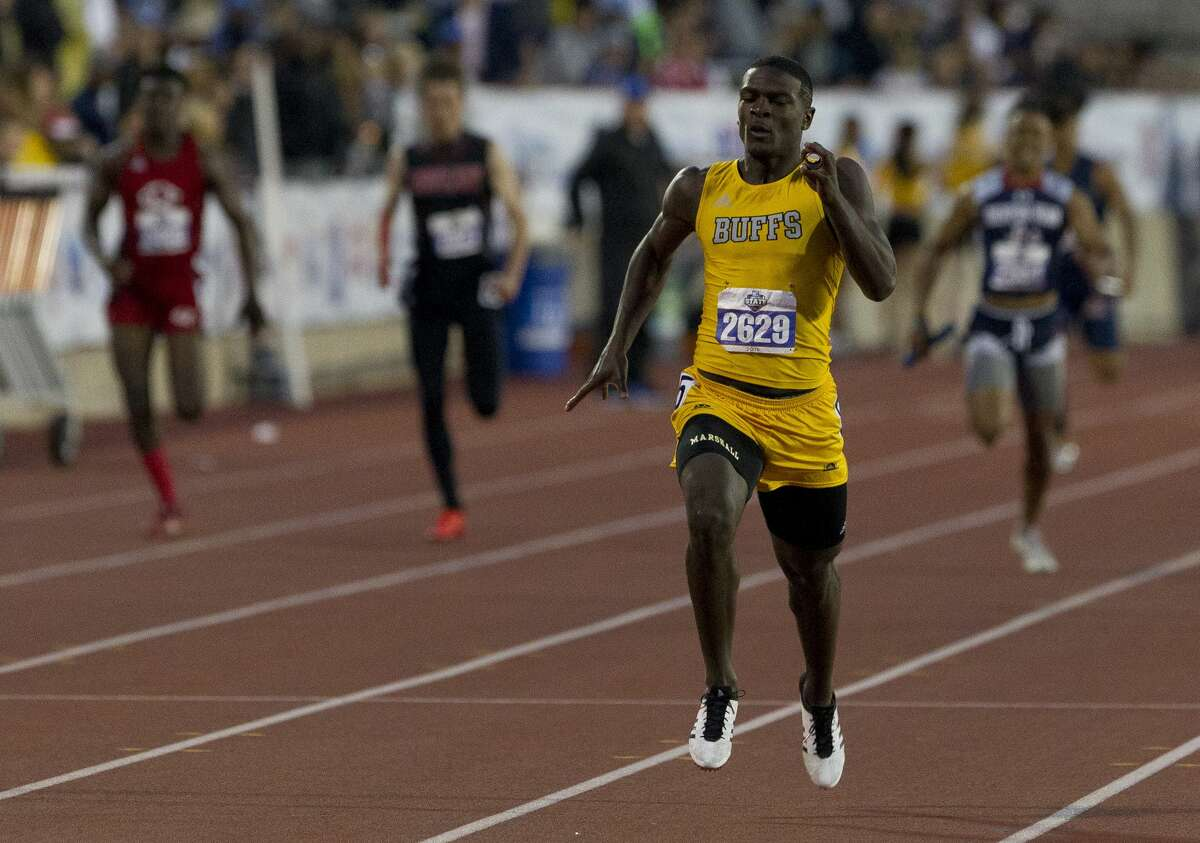 Fort Bend Marshall competes in the 5A boys 800-meter relay during the UIL State Track & Field Championships at Mike A. Myers Stadium, Friday, May, 10, 2019, in Austin. Marshall finished first in the event.