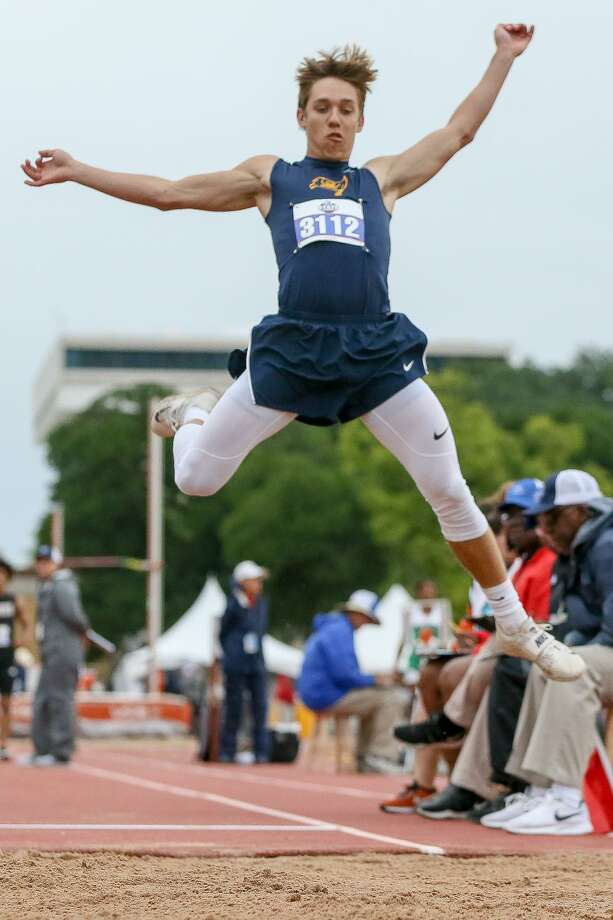 Poth's Blake Moody leaps into the air in the 3A boys long jump during the UIL state track and field championships at Mike Myers Stadium in Austin on Friday, May 10, 2019. Moody took third place in the event with a jump of 22-01. Photo: Marvin Pfeiffer, Staff Photographer / Express-News 2019