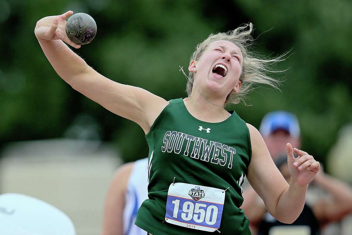 Southwest's Morgan Fey releases the shot in the 5A girls competition during the UIL state track and field championships at Mike A. Myers Stadium in Austin on May 10, 2019. Fey took third place in the event with a toss of 40-5¾.
