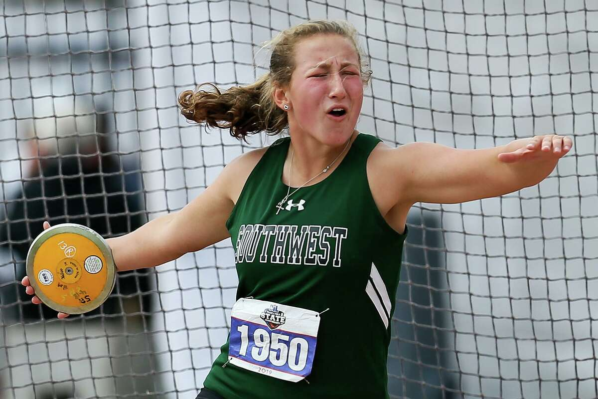 Southwest's Morgan Fey prepares to toss the discus in the 5A girls event during the UIL state track and field championships at Mike A. Myers Stadium in Austin on May 10, 2019. Fey won the event with a throw of 137-9. She also took third place in shot put at the meet.