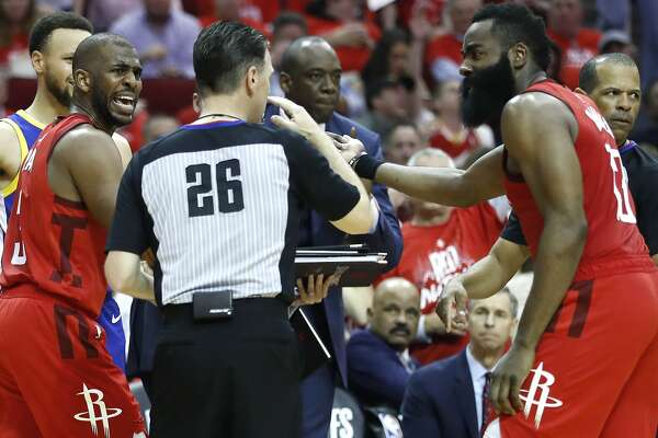 d4e80fea53d9 1of2Houston Rockets guards Chris Paul (3) and James Harden (13) argue a call  with referee Pat Fraher (26) during the second half of Game 6 of the NBA ...