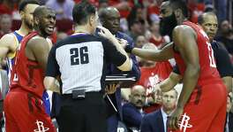 2fad03cd1f87 Houston Rockets guards Chris Paul (3) and James Harden (13) argue a