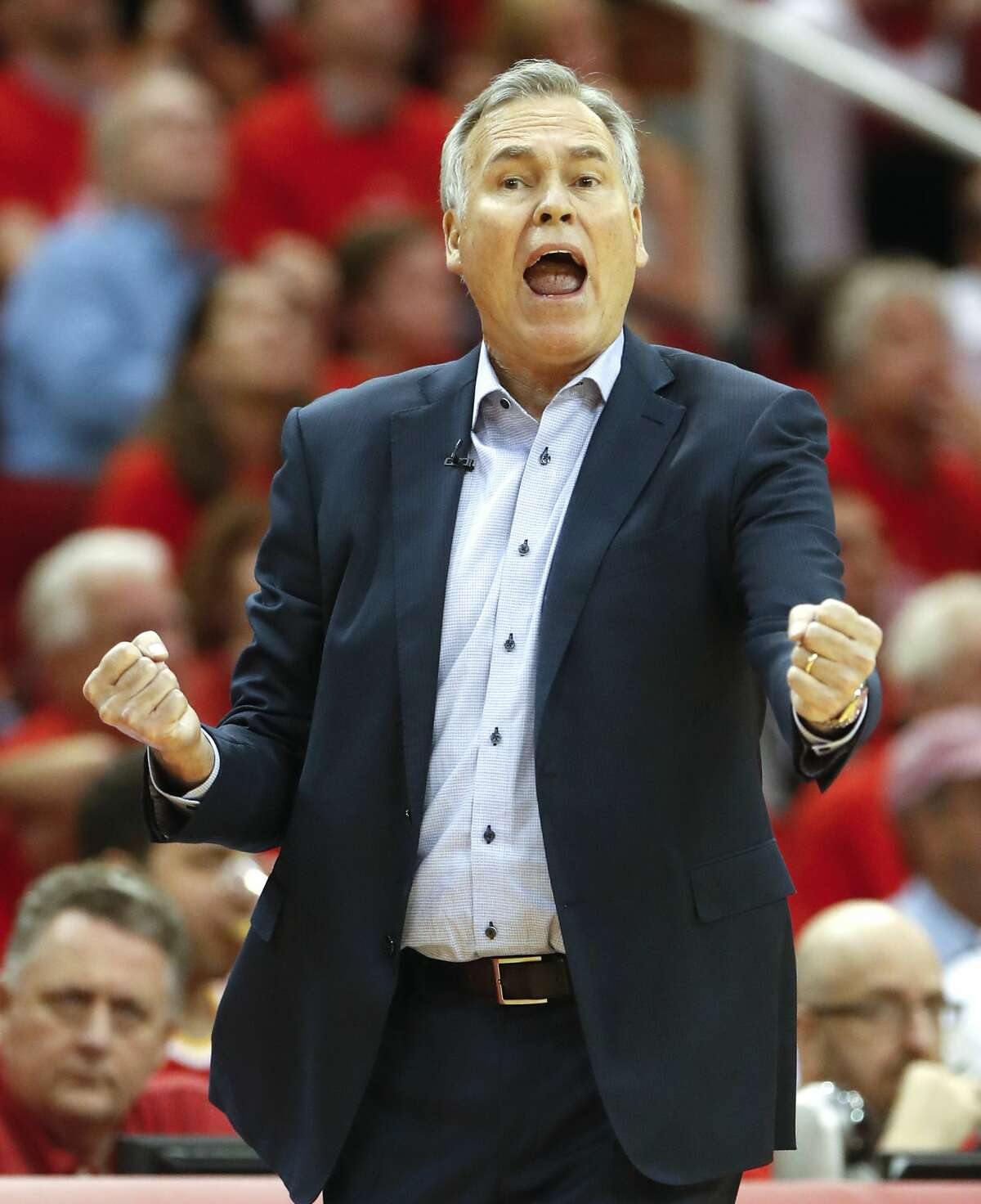 Houston Rockets head coach Mike D'Antoni yells from the bench during the second half of Game 6 of the NBA Western Conference semifinals against the Golden State Warriors at Toyota Center on Friday, May 10, 2019, in Houston.