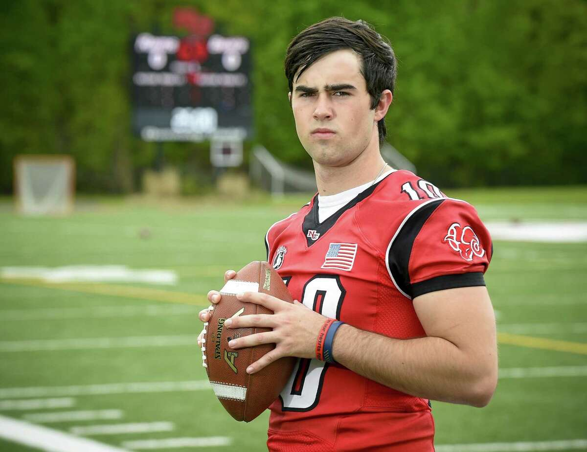New Canaan QB Drew Pyne is photograph on May 9, 2019 at New Canaan High School's Dunning Field in New Canaan, Connecticut. The Junior has committed to play football at Notre Dame and is already New Canaan's all-time leading passer. He is one of the most widely-discussed and dissected quarterbacks in the history of Connecticut high school football.