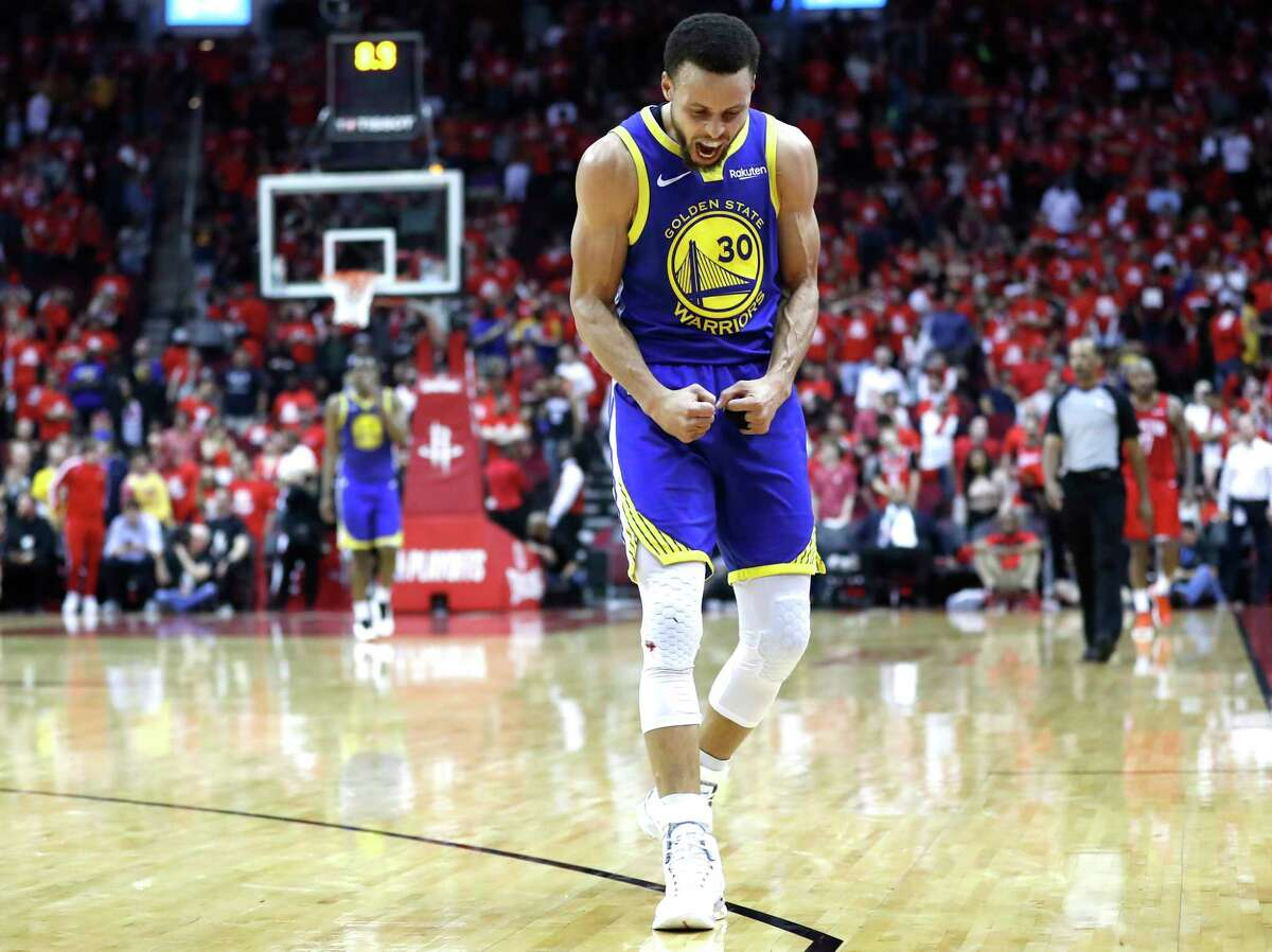 Golden State Warriors guard Stephen Curry (30) celebrates near the end of the second half of Game 6 of the NBA Western Conference semifinals against the Houston Rockets at Toyota Center on Friday, May 10, 2019, in Houston. The Warriors eliminated the Rockets with a 118-113 win, to take the series 4-2.