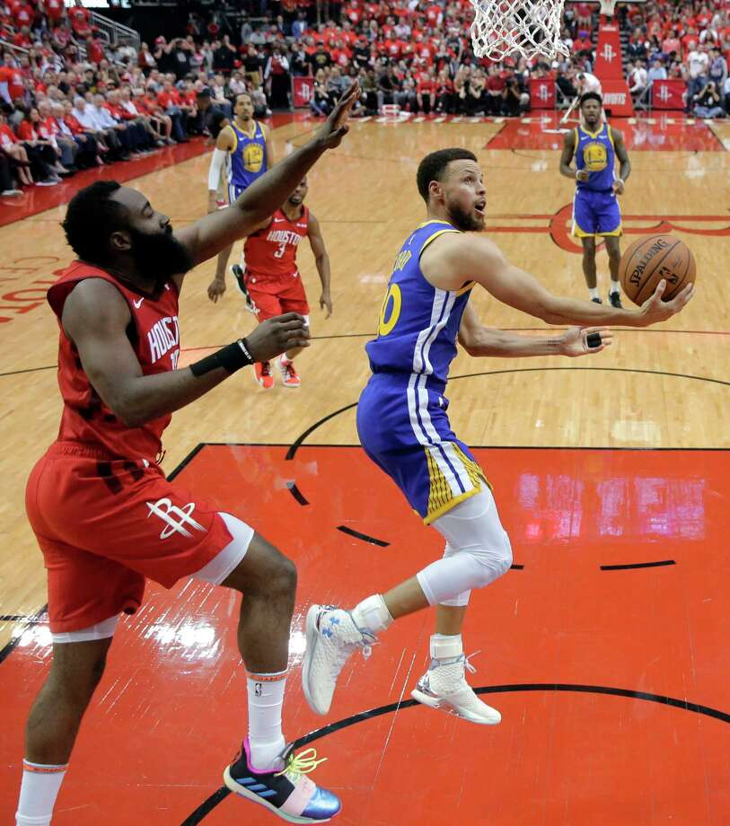 Houston Rockets' James Harden defends as Golden State Warriors' Stephen Curry (30) shoots during the first half in Game 6 of a second-round NBA basketball playoff series Friday, May 10, 2019, in Houston. (AP Photo/Eric Gay) Photo: Eric Gay / Copyright 2019 The Associated Press. All rights reserved.