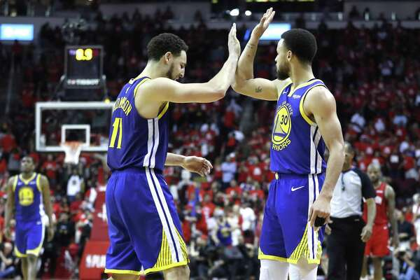 5e68ac4fa2f9 1of7Golden State Warriors guard Klay Thompson (11) and Golden State Warriors  guard Stephen Curry (30) high five near the end of Game 6 of the NBA  Western ...