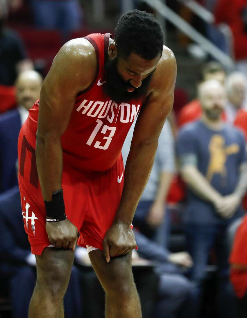 Houston Rockets guard James Harden (13) pauses on the court during the second half of Game 6 of the NBA Western Conference semifinals against the Golden State Warriors at Toyota Center on Friday, May 10, 2019, in Houston. The Warriors eliminated the Rockets with a 118-113 win, to take the series 4-2.