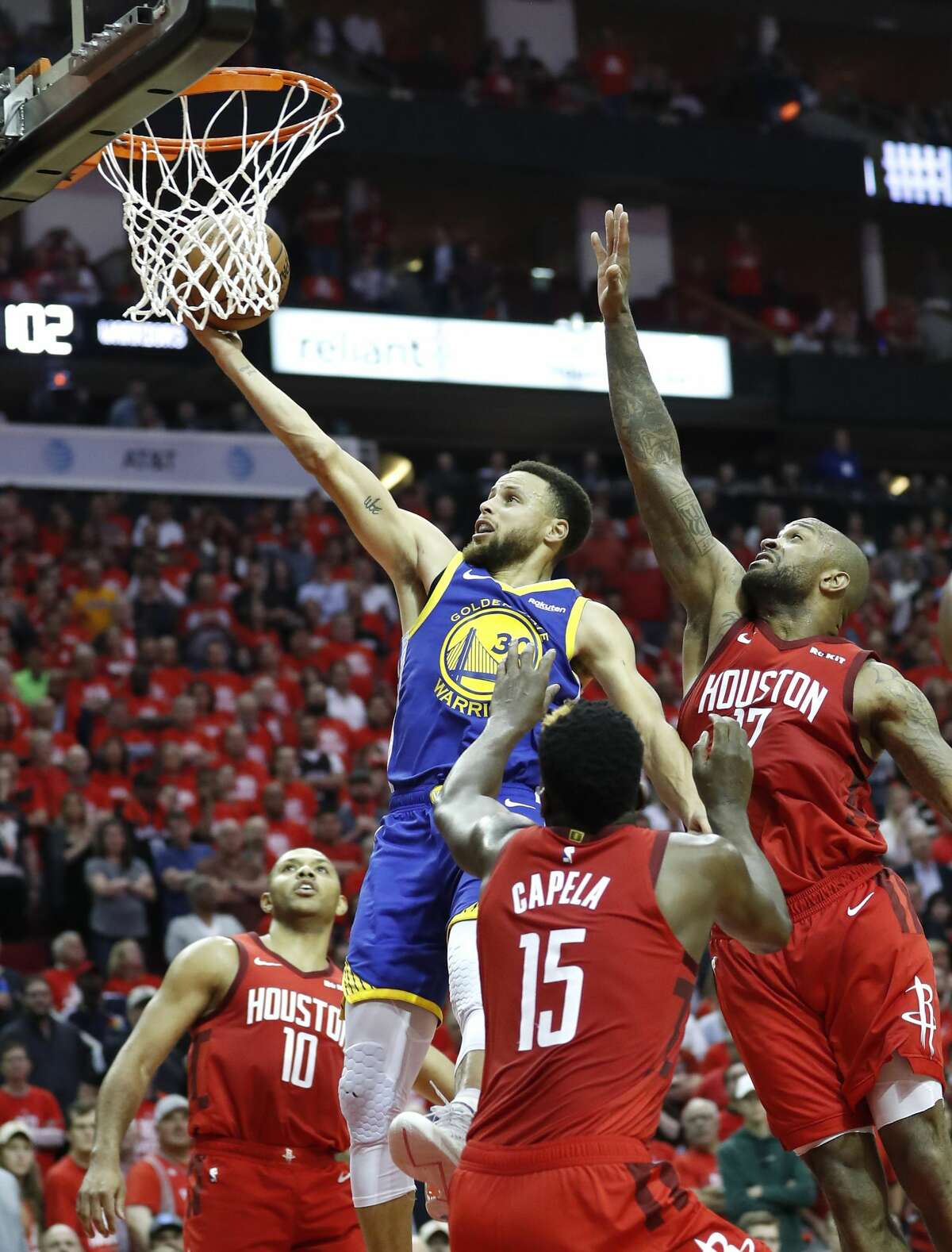 during the second half of Game 6 of the NBA Western Conference semifinals at Toyota Center on Friday, May 10, 2019, in Houston. The Warriors eliminated the Rockets with a 118-113 win, to take the series 4-2.