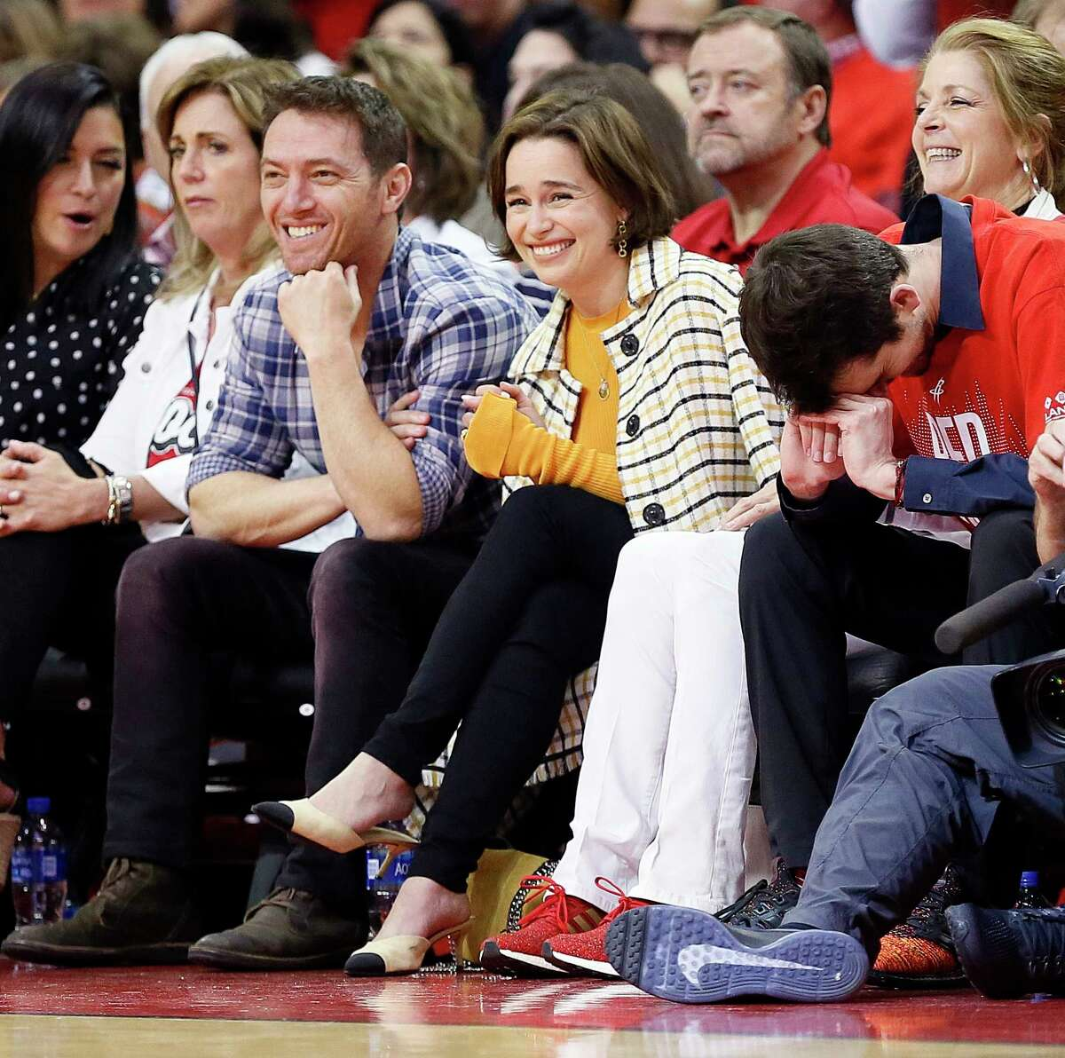 HOUSTON, TEXAS - MAY 10: Emilia Clarke from Game of Thrones watches courtside during Game Six of the Western Conference Semifinals of the 2019 NBA Playoffs at Toyota Center on May 10, 2019 in Houston, Texas. NOTE TO USER: User expressly acknowledges and agrees that, by downloading and or using this photograph, User is consenting to the terms and conditions of the Getty Images License Agreement.