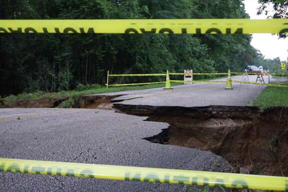 The sinkhole at the 1600 block of Hamblen Road near Redbud Lane on May 8 in Kingwood.