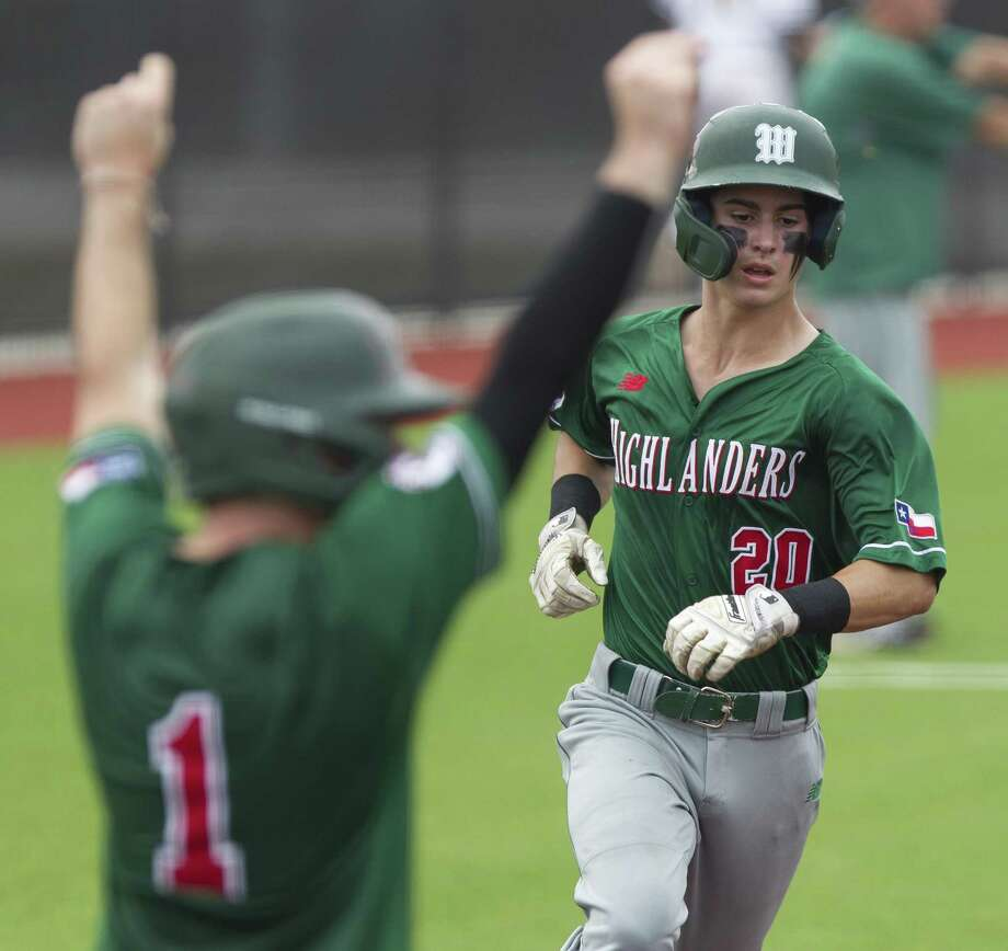 In this file photo, Cameron Caley (20) of The Woodlands scores on an two-run double by Casey Sunseri in the third inning of Game 1 during a Region II-6A area high school baseball playoff series at Grand Oaks High School, Thursday, May 9, 2019, in Spring. Photo: Jason Fochtman, Houston Chronicle / Staff Photographer / © 2019 Houston Chronicle