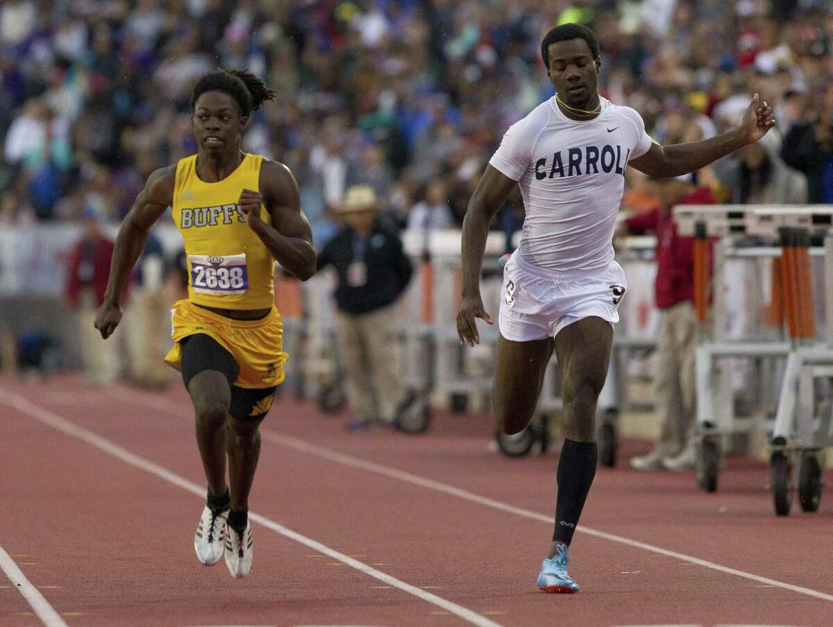 Bryson Stubblefield of Fort Bend Marshall competes in the 5A boys 100-meter dash during the UIL State Track & Field Championships at Mike A. Myers Stadium, Friday, May, 10, 2019, in Austin.