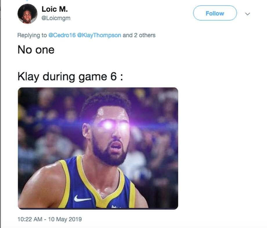 "Warriors fans showered praise on ""Game 6 Klay"" after the Warriors eliminated the Rockets Friday night. Photo: Twitter"