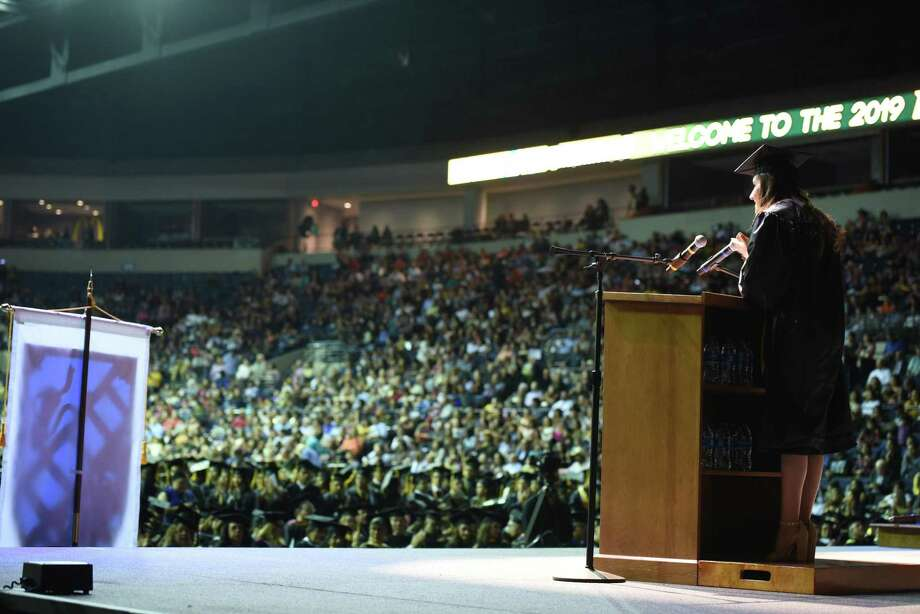 Students and their families and friends listen to opening speeches and remarks during the Laredo College Commencement Ceremony at Sames Auto Arena on Friday. Photo: Christian Alejandro Ocampo /Laredo Morning Times / Laredo Morning Times