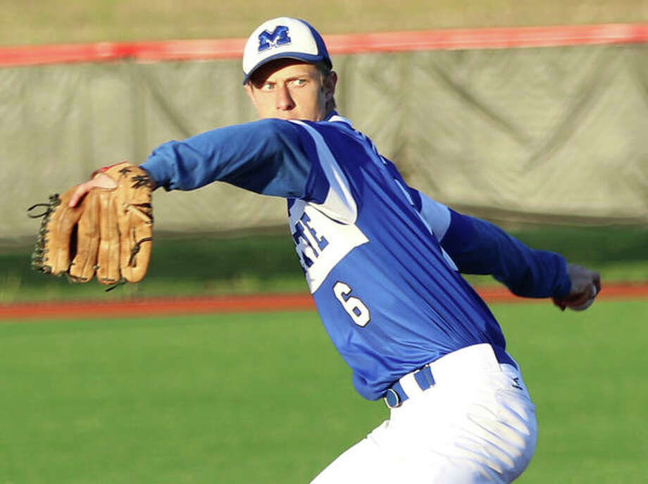 Marquette's Jack Warren, shown in a start April 26 in a game at SIUE, got the win while combining with two other Explorers in a three-hit shutout over the Shells on Friday in Roxana. Photo: Greg Shashack / The Telegraph