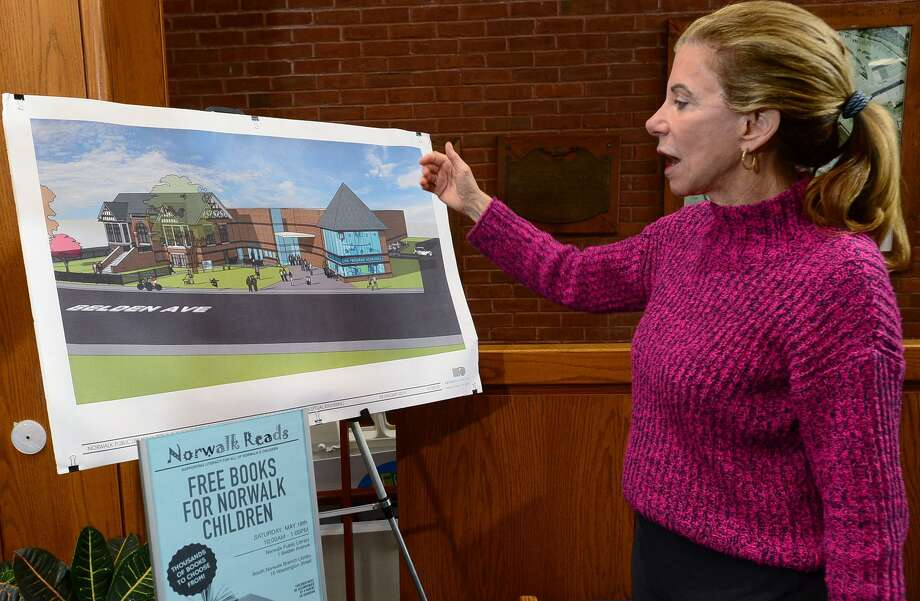 Executive Director Christine Bradley talks about the new plans for the Norwalk Public Library main Branch on Belden Avenue on Friday, which includes updates to its existing space and a possible addition housing a Connecticut Public Television Center among other features on Belden Avenue in Norwalk. Photo: Erik Trautmann / Hearst Connecticut Media / Norwalk Hour