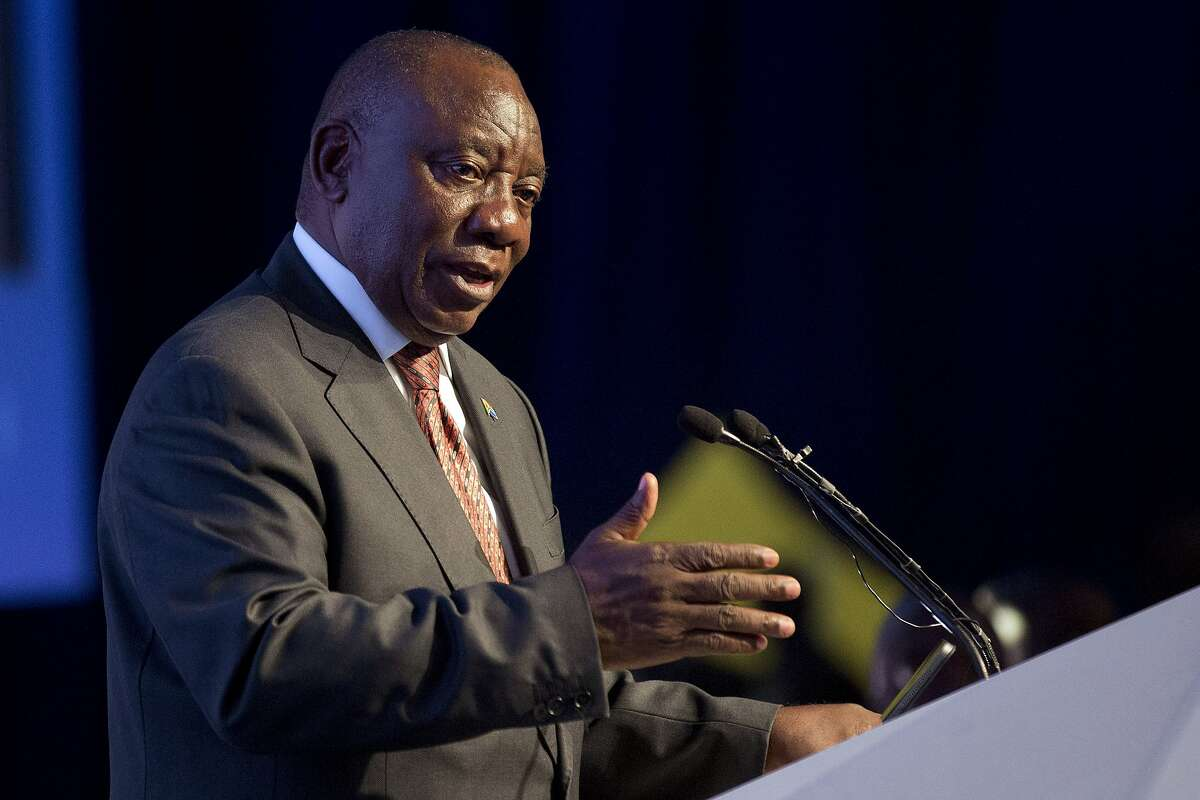 South Africa President Cyril Ramaphosa addresses the nation after the Independent Electoral Commission announced the final results in South Africa's general election in Pretoria, Saturday, May 11, 2019. South Africans voted Wednesday in a national election and results show that the ruling African National Congress party (ANC) has won the national elections but has seen its share of the vote drop significantly. (AP Photo/Jerome Delay)