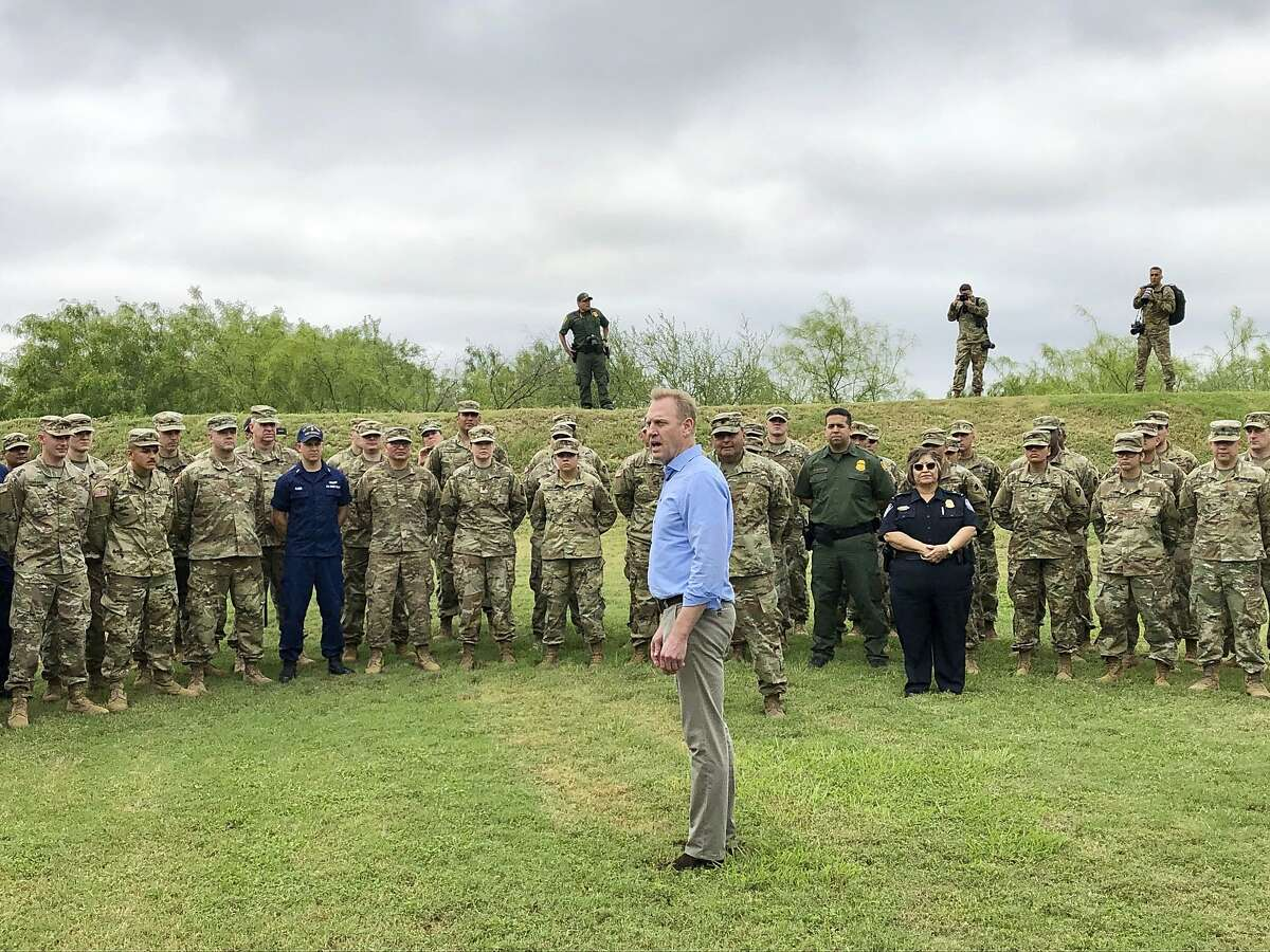 Acting Defense Secretary Patrick Shanahan speaks with troops near McAllen, Texas, about the military's role in support of the Department of Homeland Security's effort to secure the Southwest border. (AP Photo/Robert Burns)