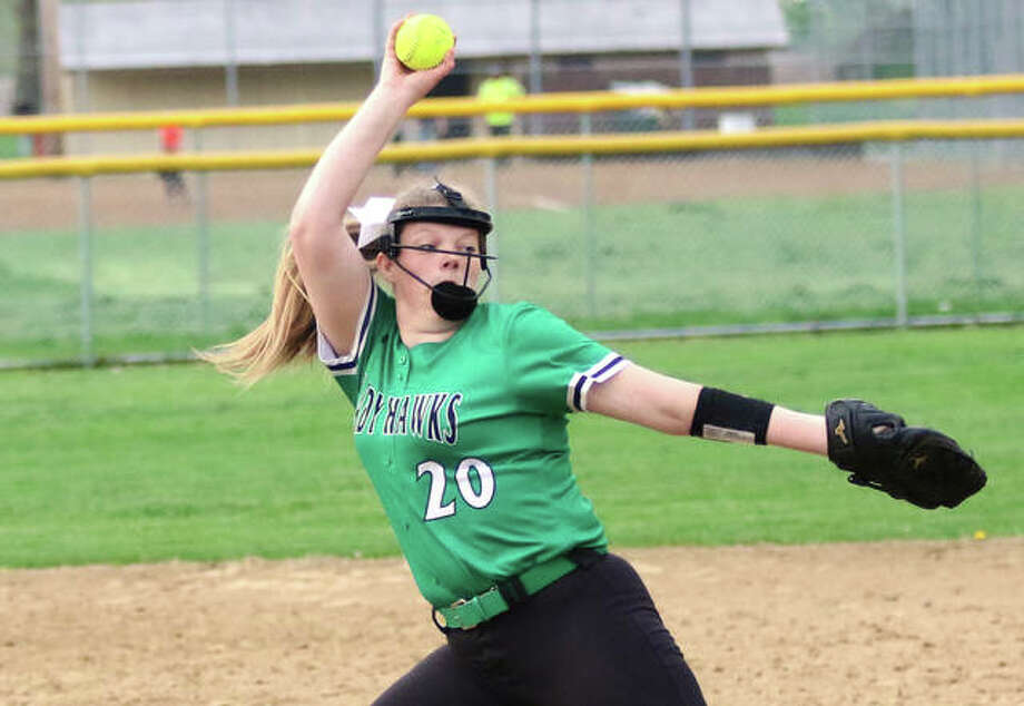 Carrollton's Hannah Rhoades turned in a strong start to hurl the Hawks to a victory over Civic Memorial on Friday at the Bethalto Sports Complex. Rhoades is shown pitching earlier this season in Carrollton. Photo: Greg Shashack / The Telegraph