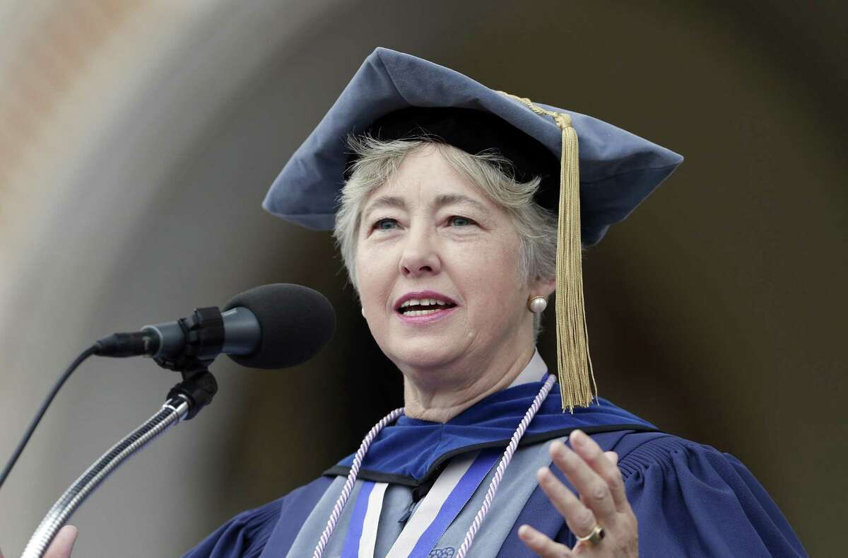 Former Houston mayor and 1978 alum Annise Parker delivers the commencement address during commencement ceremonies on the quad at Rice University Saturday, May. 11, 2019 in Houston, TX.