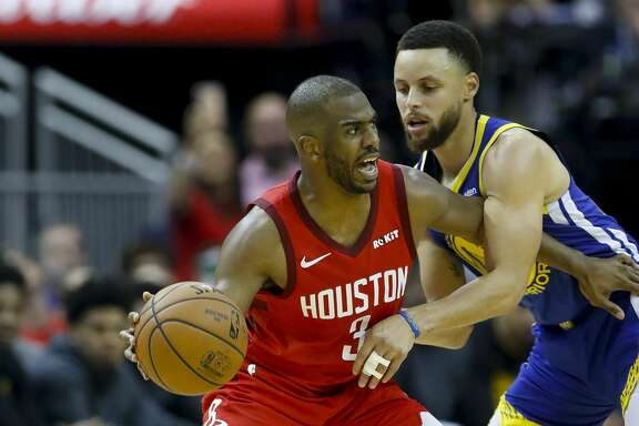 Houston Rockets guard Chris Paul (3) is defended by Golden State Warriors guard Stephen Curry (30) during the third quarter of Game 3 of a NBA Western Conference semifinal playoff game at Toyota Center, in Houston , Saturday, May 4, 2019.