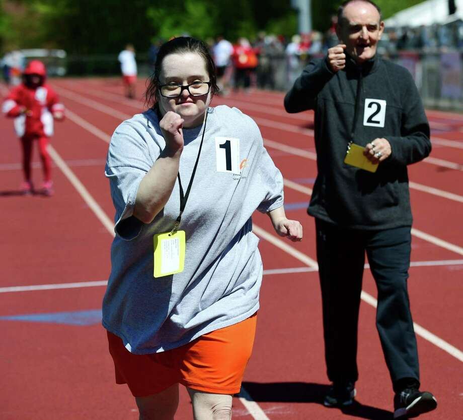 Megan Finch of Old Saybrook competes during The Special Olympics Connecticut 2019 Southern Time Trials Saturday, May 11, 2019, at Weston High School in Weston, Conn. The annual event gives athletes of all abilities from the region opportunities to compete in Track & Field, Swimming and Tennis. Special Olympics Connecticut provides year-round sports training and competitions for over 12,000 athletes of all ages with intellectual disabilities Photo: Erik Trautmann / Hearst Connecticut Media / Norwalk Hour