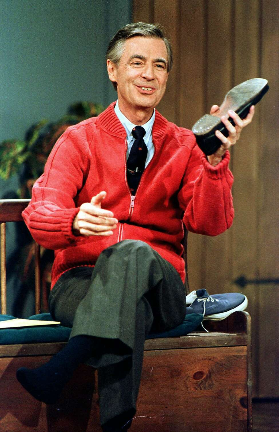 FILE - This June 28, 1989 file photo shows Fred Rogers as he rehearses the opening of his PBS show