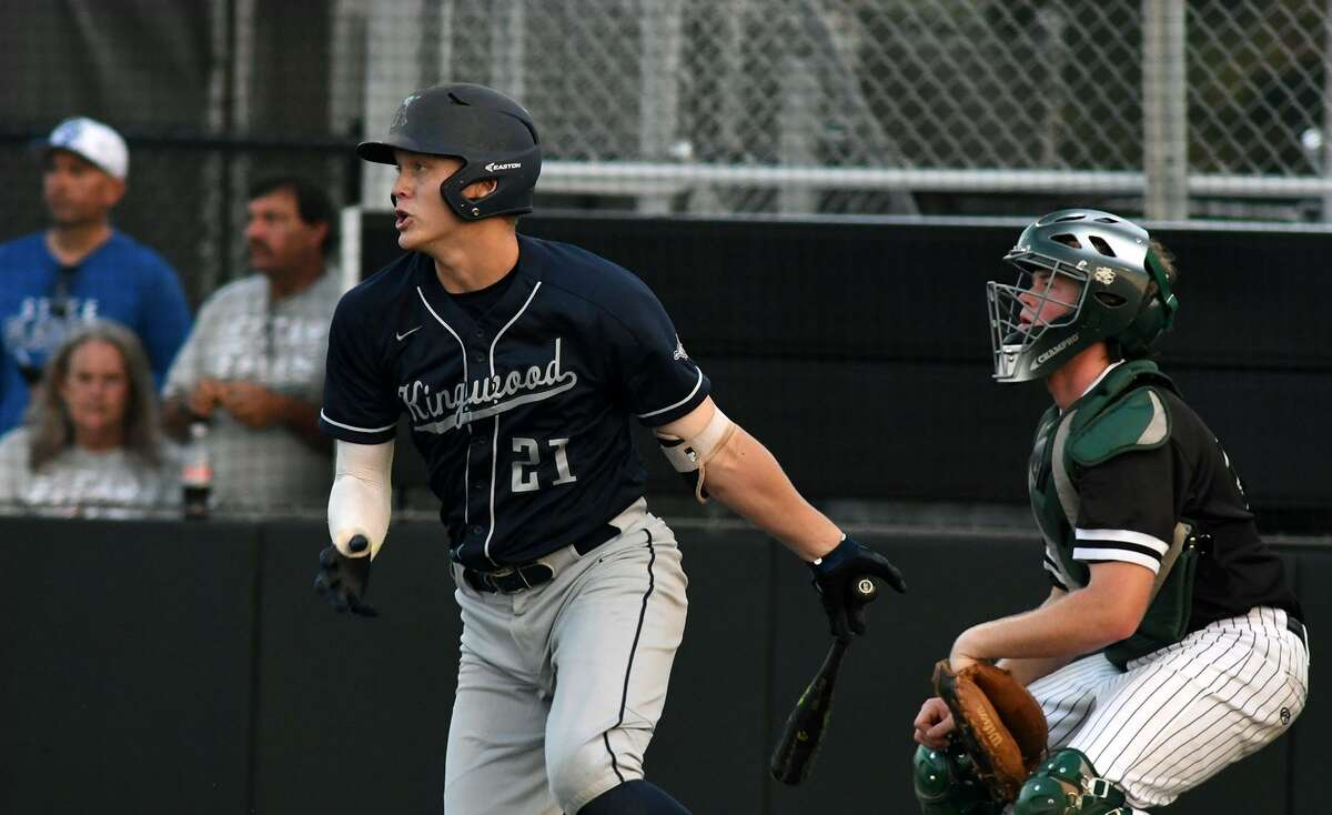 Kingwood first baseman Grant Evans drives a ball to centerfield for a double against Clear Falls in the bottom of the first inning of Game One of their best of three series at Humble High School on May 10, 2019. (Photo by Jerry Baker)