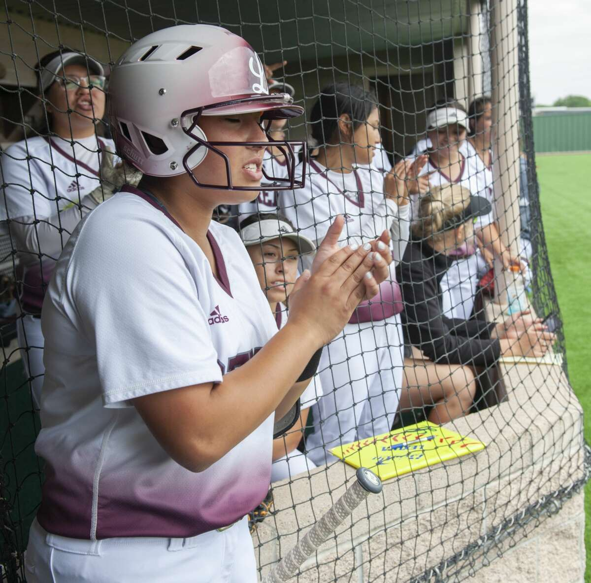 Lee High players cheer on teammates from the dugout 05/11/19 in game two of the Class 6A regional quarterfinal series against Odessa High at Seminole ISD softball field. Tim Fischer/Reporter-Telegram