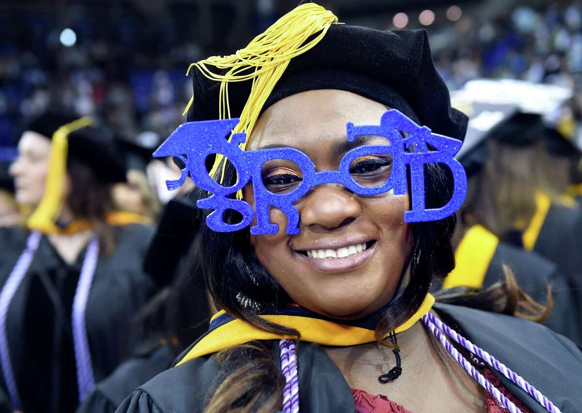 Mojisola Omolabake Talabi sported grad glasses at the Quinnipiac University Graduate Commencement Exercises for the College of Arts and Sciences, School of Health Sciences and School of Nursing at the People's United Center in Hamden on May 11, 2019. Talabi received a Doctor of Nursing Practice degree.
