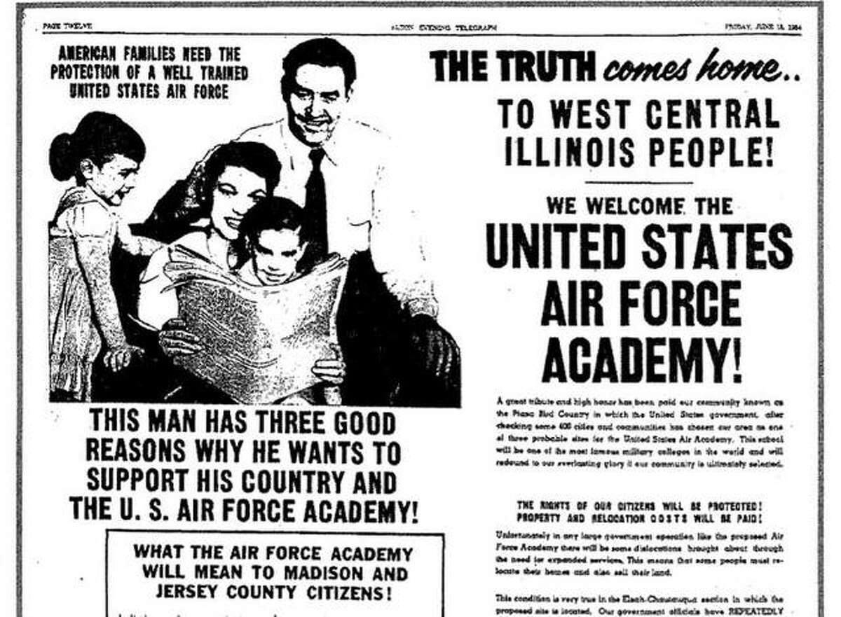 An ad in a June 1954 issue of the Alton Evening Telegraph campaigns for support of a proposed Air Force Academy near Elsah.