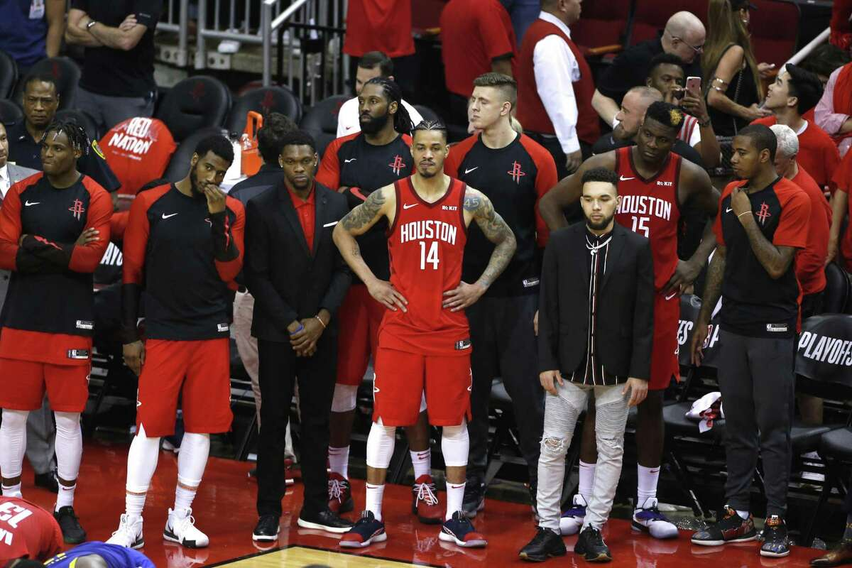 The Rockets' bench watches as time runs out in Game 6 on Friday night. The Warriors eliminated the Rockets with a 118-113 win to take the series 4-2.