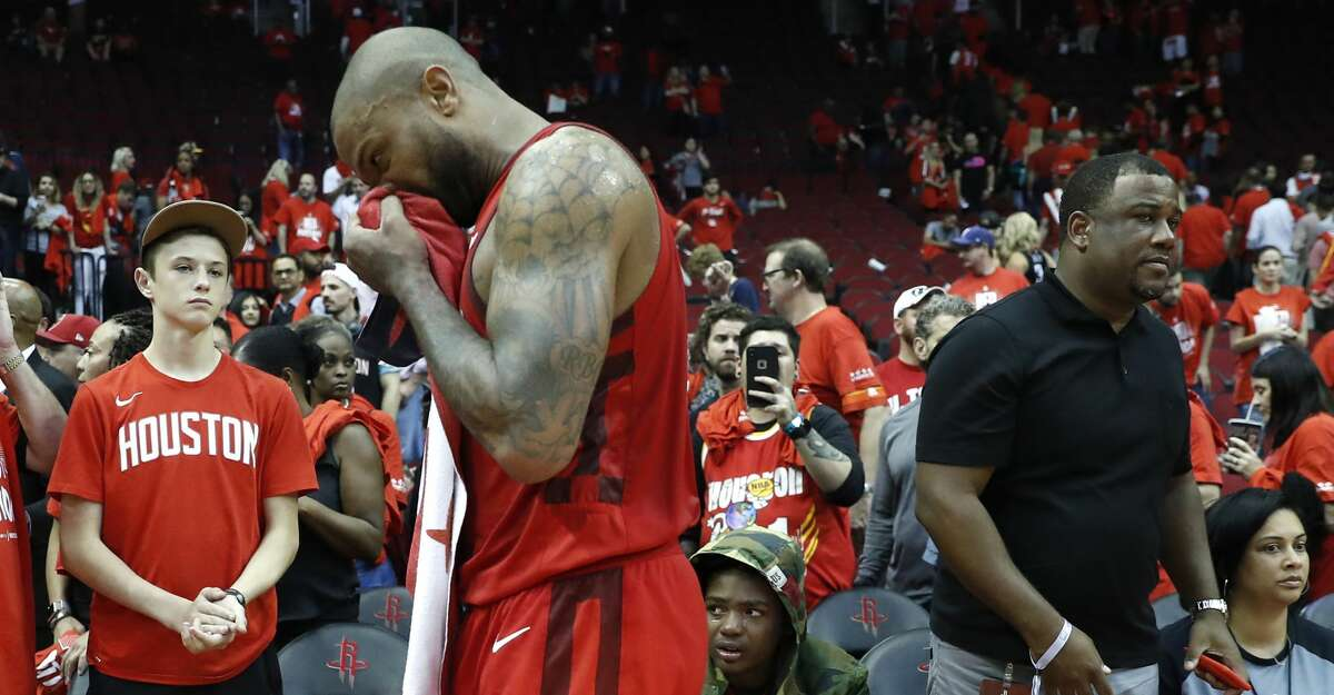 Houston Rockets forward PJ Tucker (17) walks ooff the court at the end of Game 6 of the NBA Western Conference semifinals at Toyota Center on Friday, May 10, 2019, in Houston. The Warriors eliminated the Rockets with a 118-113 win, to take the series 4-2.