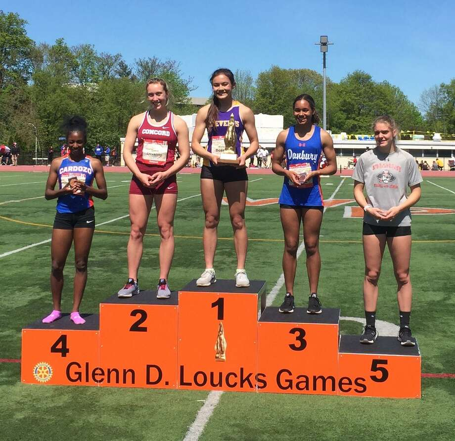 Danbury freshman Alanna Smith took third in the 400 meter at the Loucks Games on Saturday. Her time (55.94) set a school record. Photo: Contributed Photo