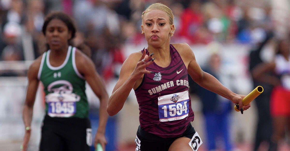 Summer Creek competes in the 6A girls 400-meter relay during the UIL State Track & Field Championships at Mike A. Myers Stadium, Saturday, May, 11, 2019, in Austin.