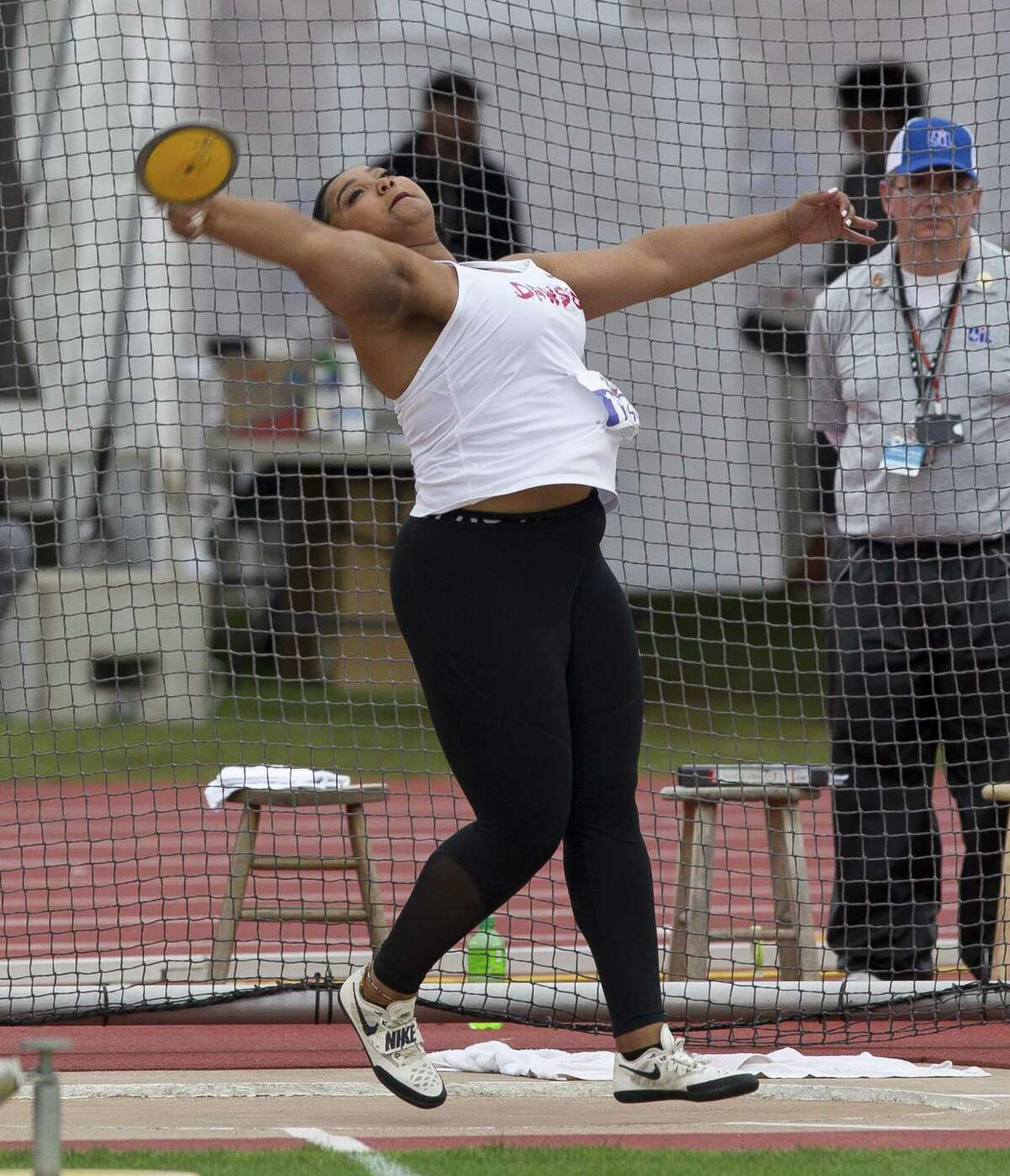 Chrystal Herpin of Pearland Dawson finished third in the discus at the UIL state track and field championships with a throw of 146 feet, 11 inches.
