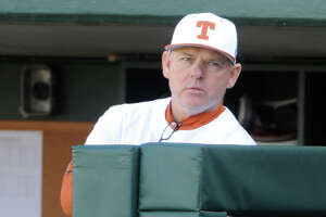 AUSTIN, TX - FEBRUARY 25: Texas Longhorn head coach David Pierce watches action from the dugout during game between the Texas Longhorns and the UConn Huskies on February 25, 2017 at UFCU Disch-Falk Field in Austin, TX. The UConn Huskies defeated the Texas Longhorns 2 - 1. (Photo by John Rivera/Icon Sportswire via Getty Images)