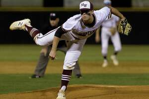 Magnolia West relief pitcher Zach Wall (8) throws during the seventh inning of a District 19-5A high school baseball game at Magnolia West High School, Tuesday, April 16, 2019, in Magnolia.