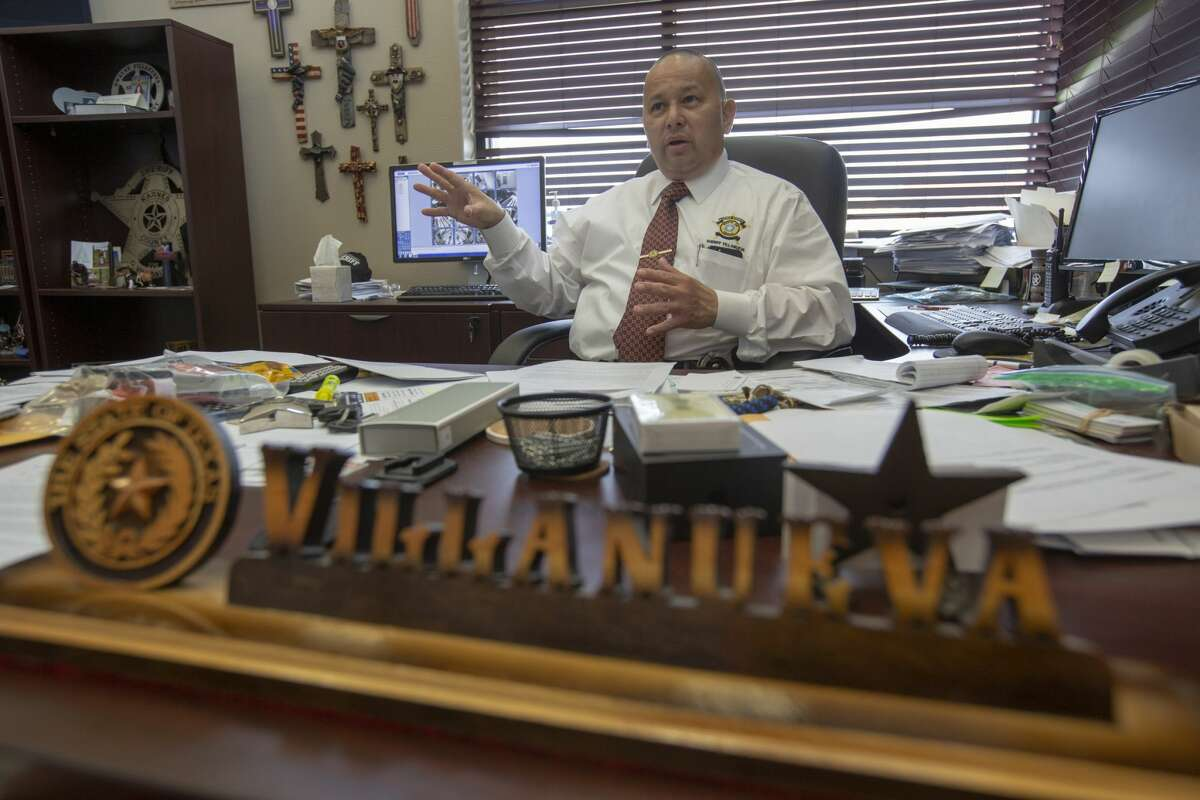 Karnes County Sheriff Dwayne Villanueva talks Tuesday, May 7, 2019 in his office about the multi-agency raid his department led that busted a cockfighting ring in Gillett.