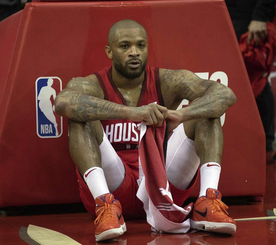 A dejected PJ Tucker #17 of the Houston Rockets sits on the court after a loss to Golden State Warriors during Game Six of the Western Conference Semifinals of the 2019 NBA Playoffs at Toyota Center on May 10, 2019 in Houston, Texas. Photo: Bob Levey, Stringer / Getty Images / 2019 Getty Images