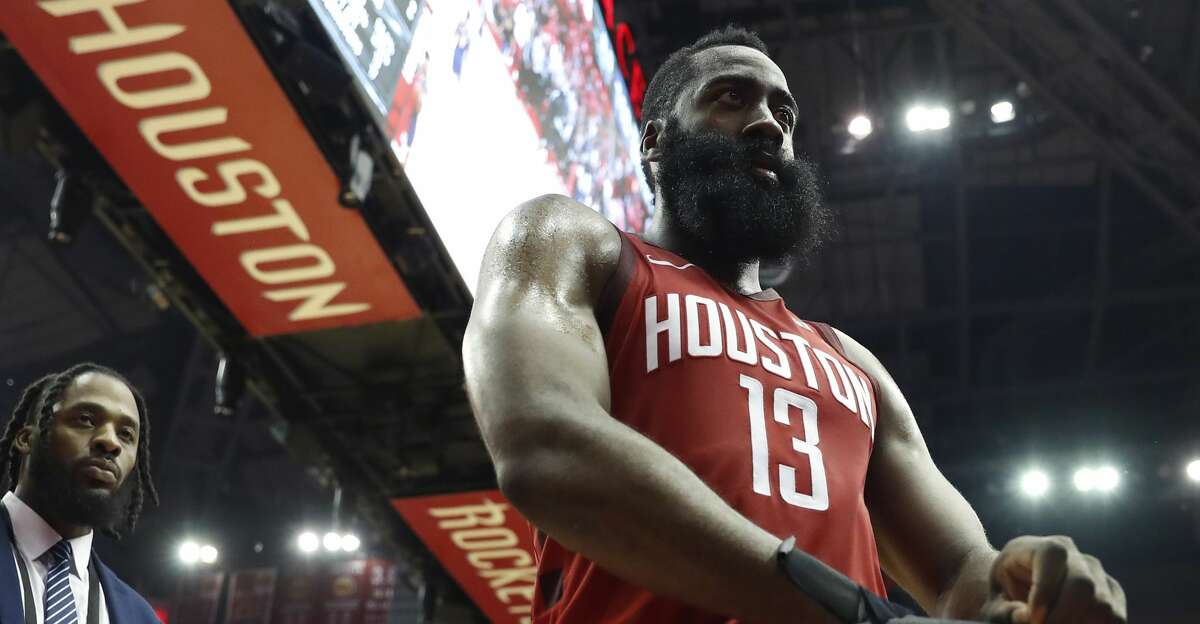 Houston Rockets guard James Harden (13) walks off the court at the end of Game 6 of the NBA Western Conference semifinals at Toyota Center on Friday, May 10, 2019, in Houston. The Warriors eliminated the Rockets with a 118-113 win, to take the series 4-2.